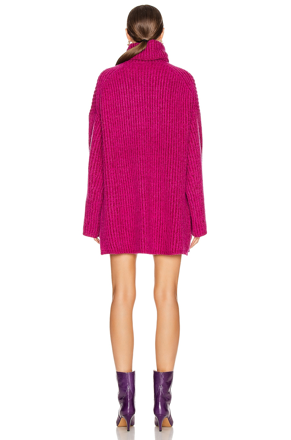 Image 3 of Acne Studios Turtleneck Sweater in Magenta Pink
