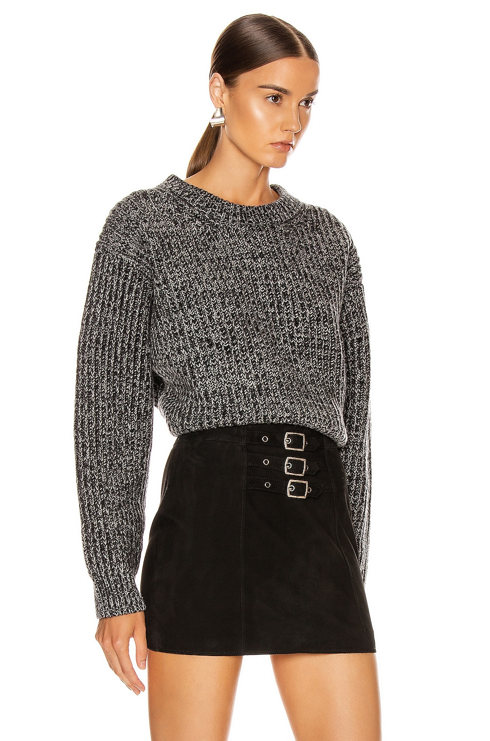 Image 2 of Acne Studios Rib Crewneck Sweater in Grey & Dark Grey