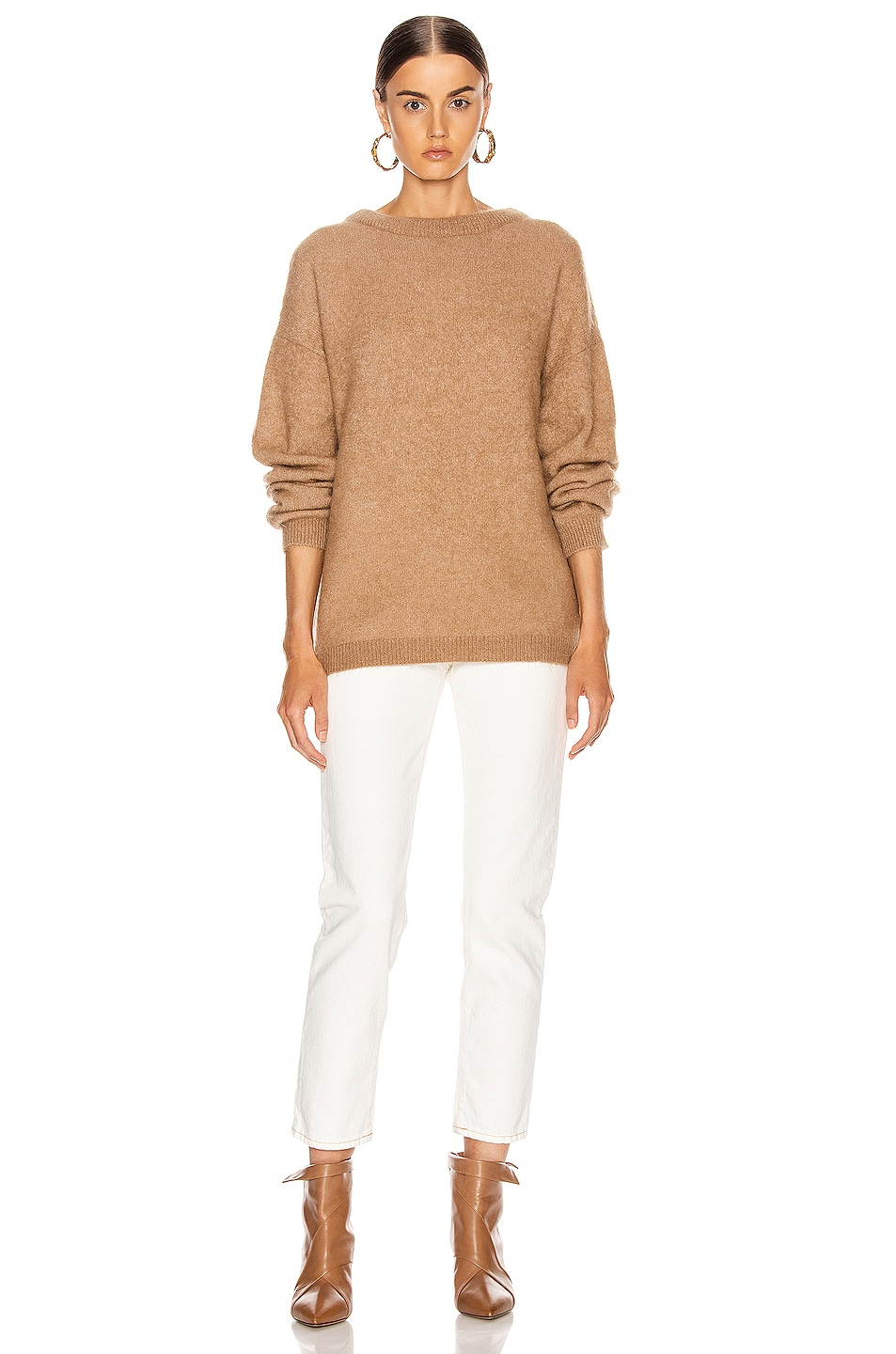 Image 4 of Acne Studios Dramatic Mohair Sweater in Caramel Brown