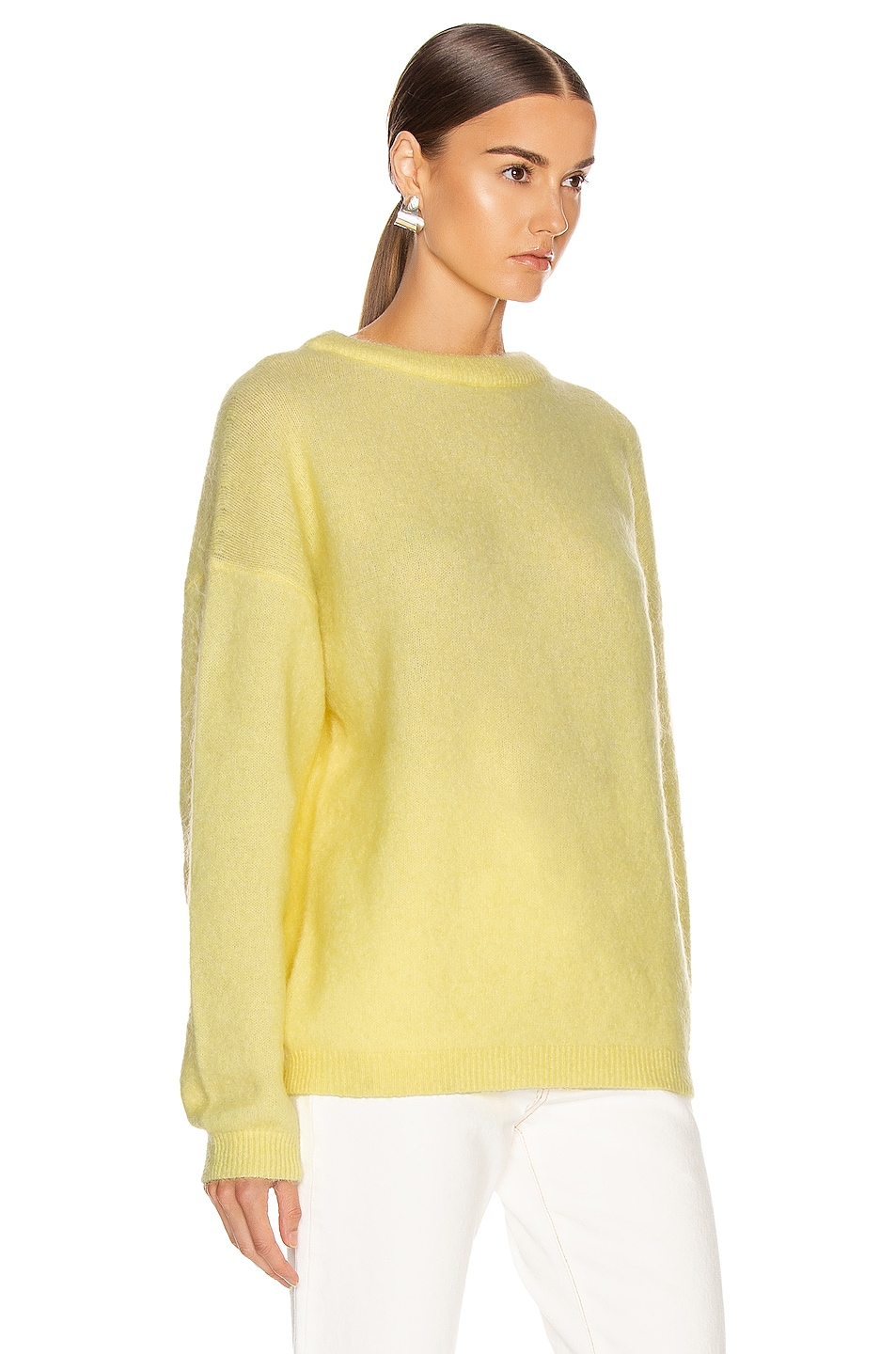 Image 2 of Acne Studios Dramatic Mohair Sweater in Light Yellow