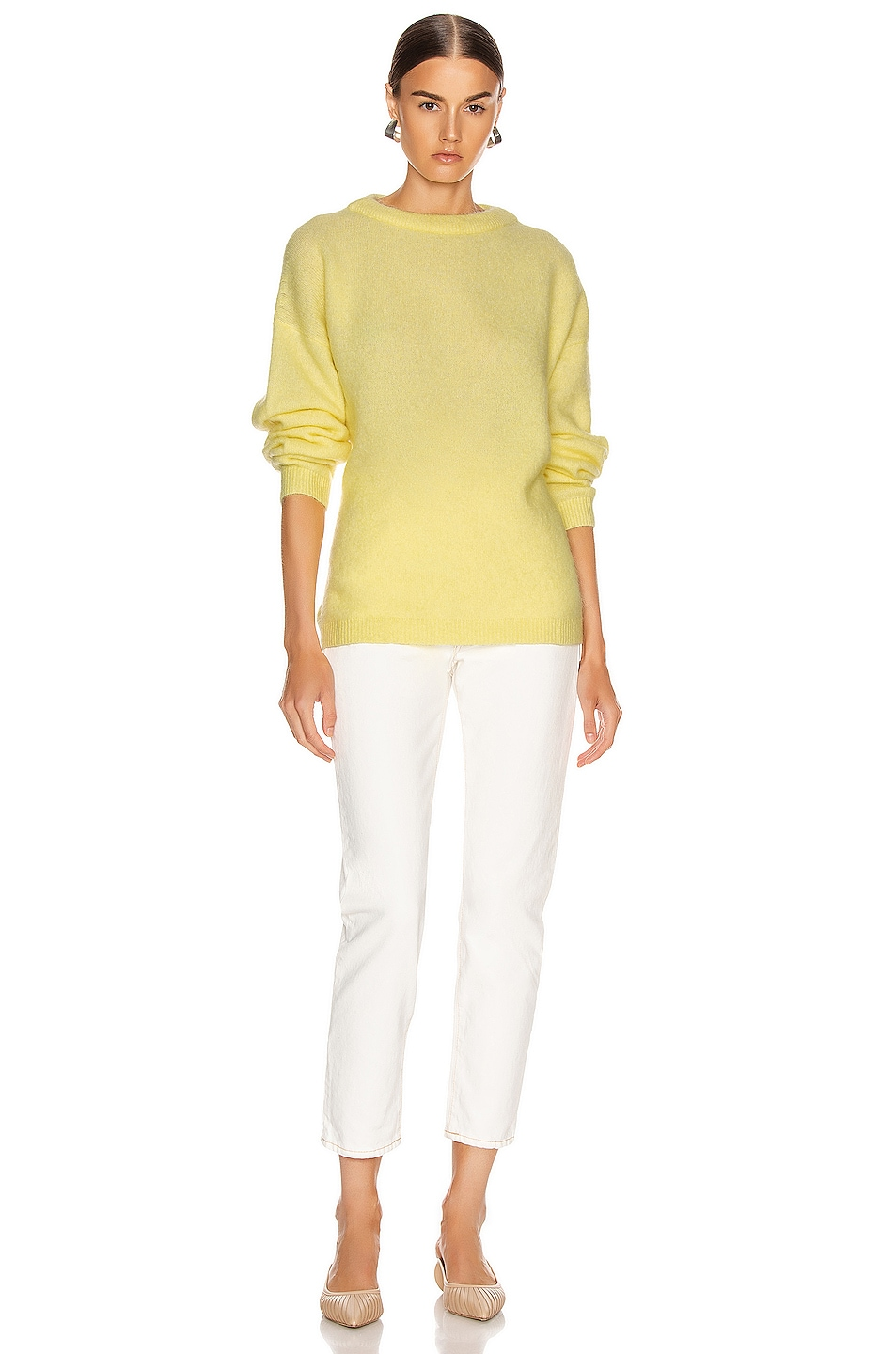 Image 4 of Acne Studios Dramatic Mohair Sweater in Light Yellow