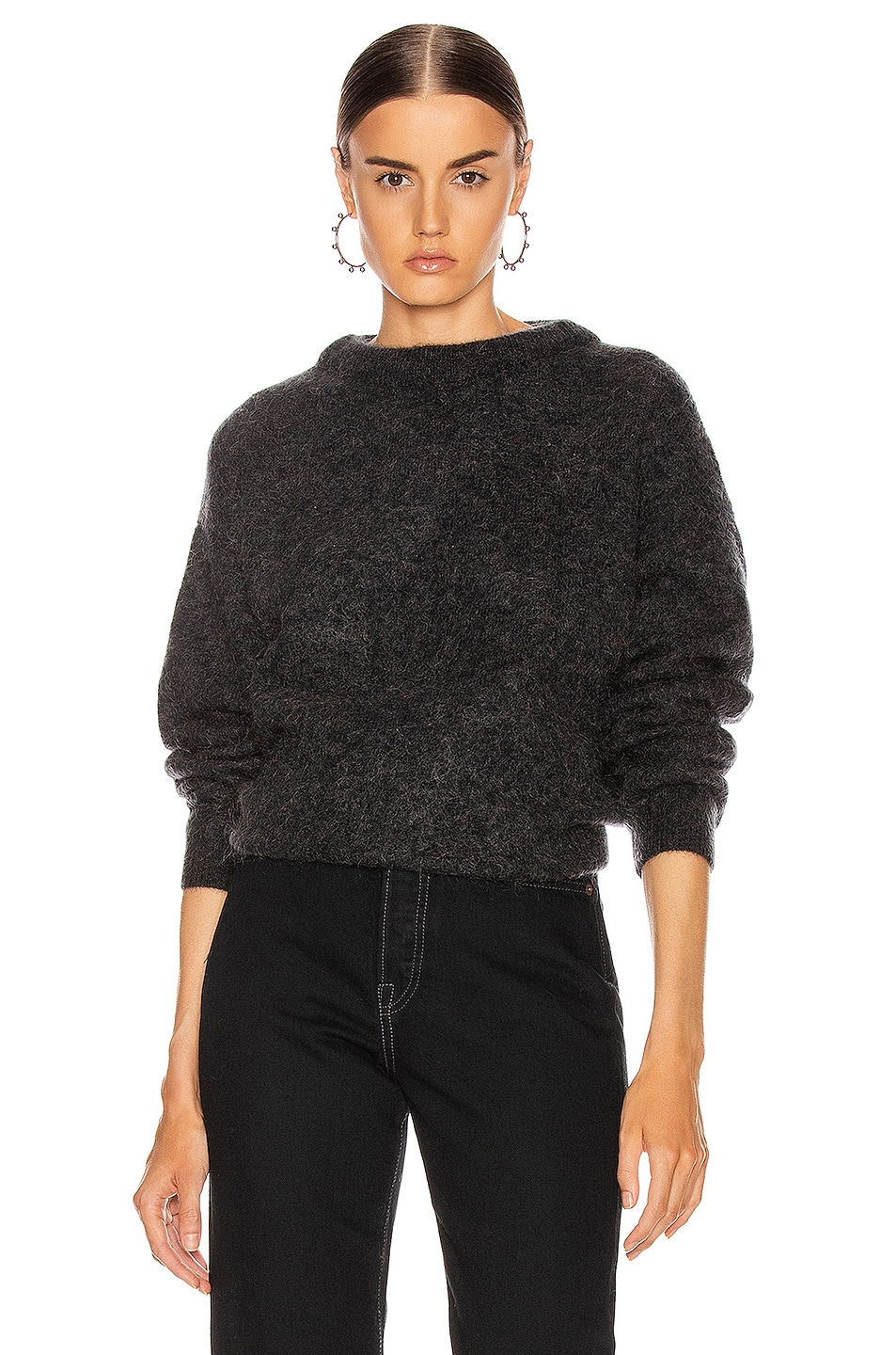 Image 1 of Acne Studios Dramatic Mohair Sweater in Warm Charcoal