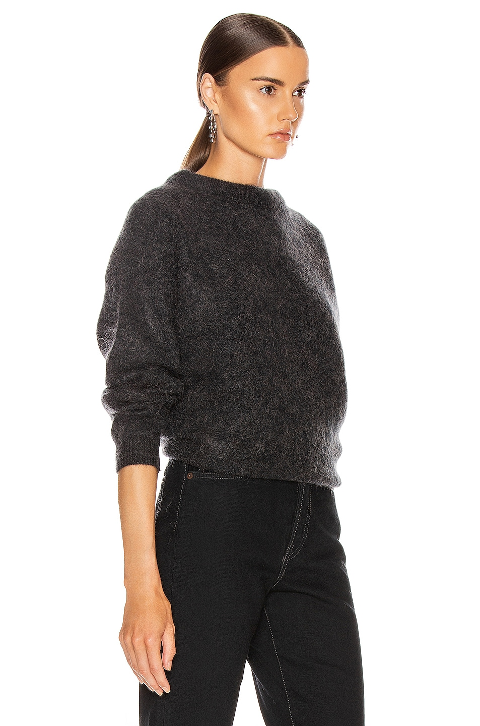 Image 2 of Acne Studios Dramatic Mohair Sweater in Warm Charcoal