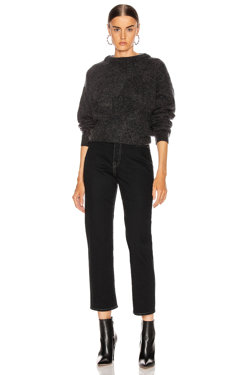 Image 4 of Acne Studios Dramatic Mohair Sweater in Warm Charcoal