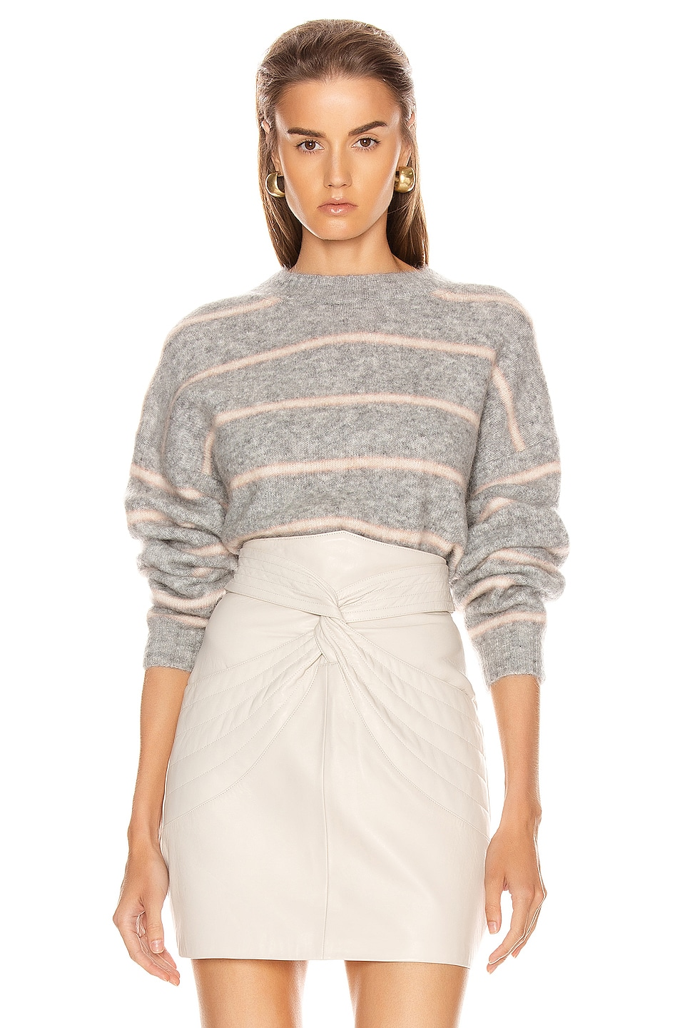 Image 1 of Acne Studios Khira Mohair Sweater in Grey & Beige