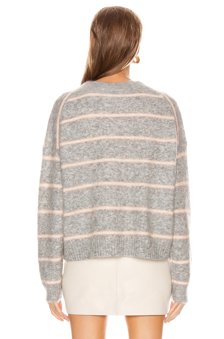 Image 3 of Acne Studios Khira Mohair Sweater in Grey & Beige