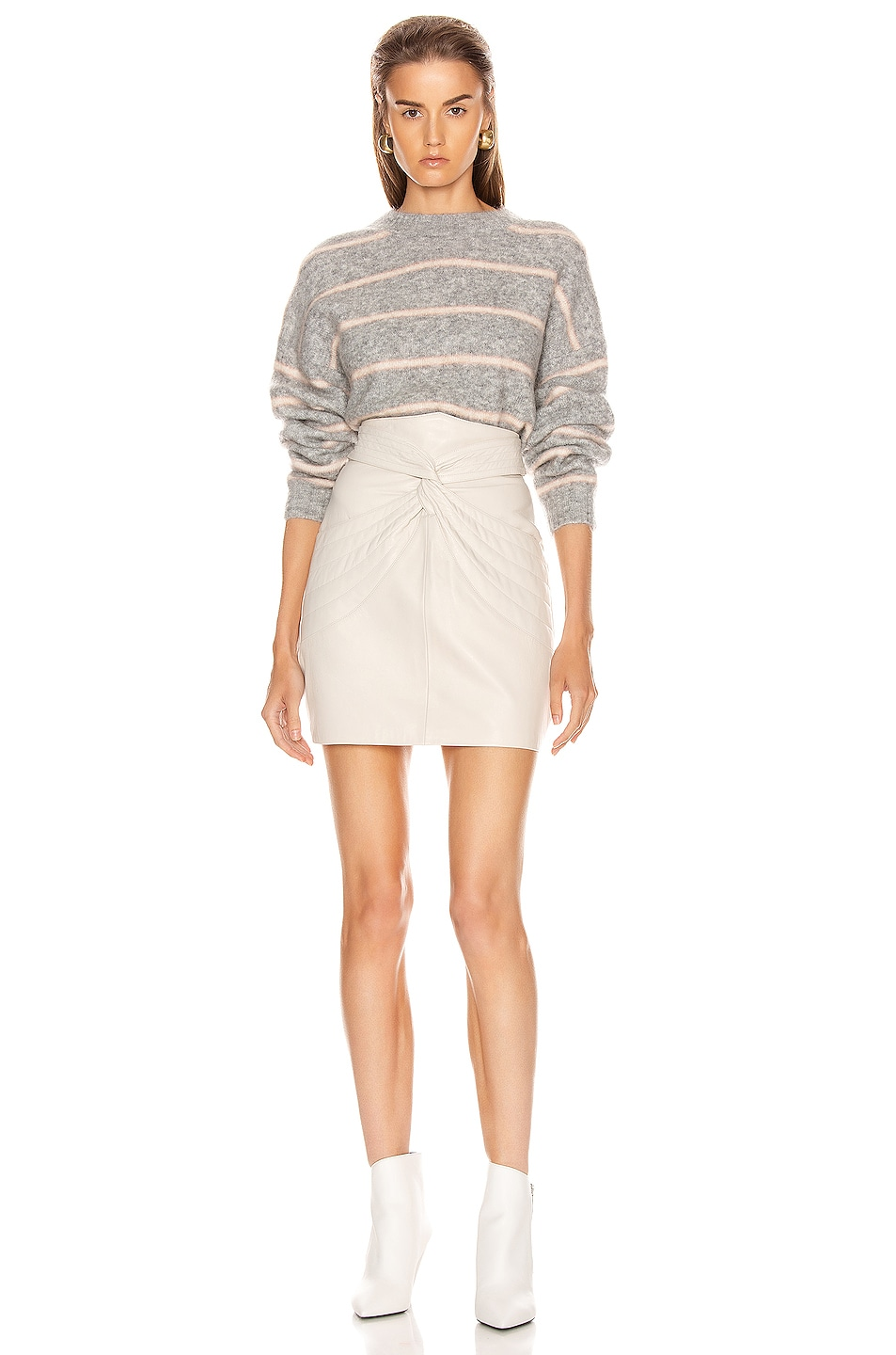Image 4 of Acne Studios Khira Mohair Sweater in Grey & Beige