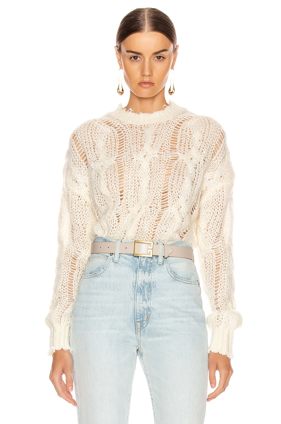 Image 1 of Acne Studios Kella Cable Sweater in Off White