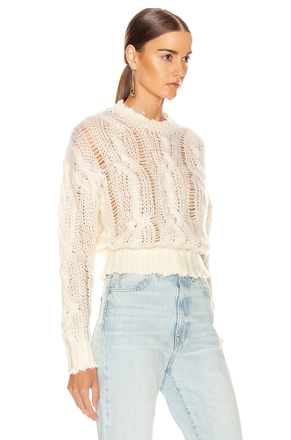 Image 2 of Acne Studios Kella Cable Sweater in Off White