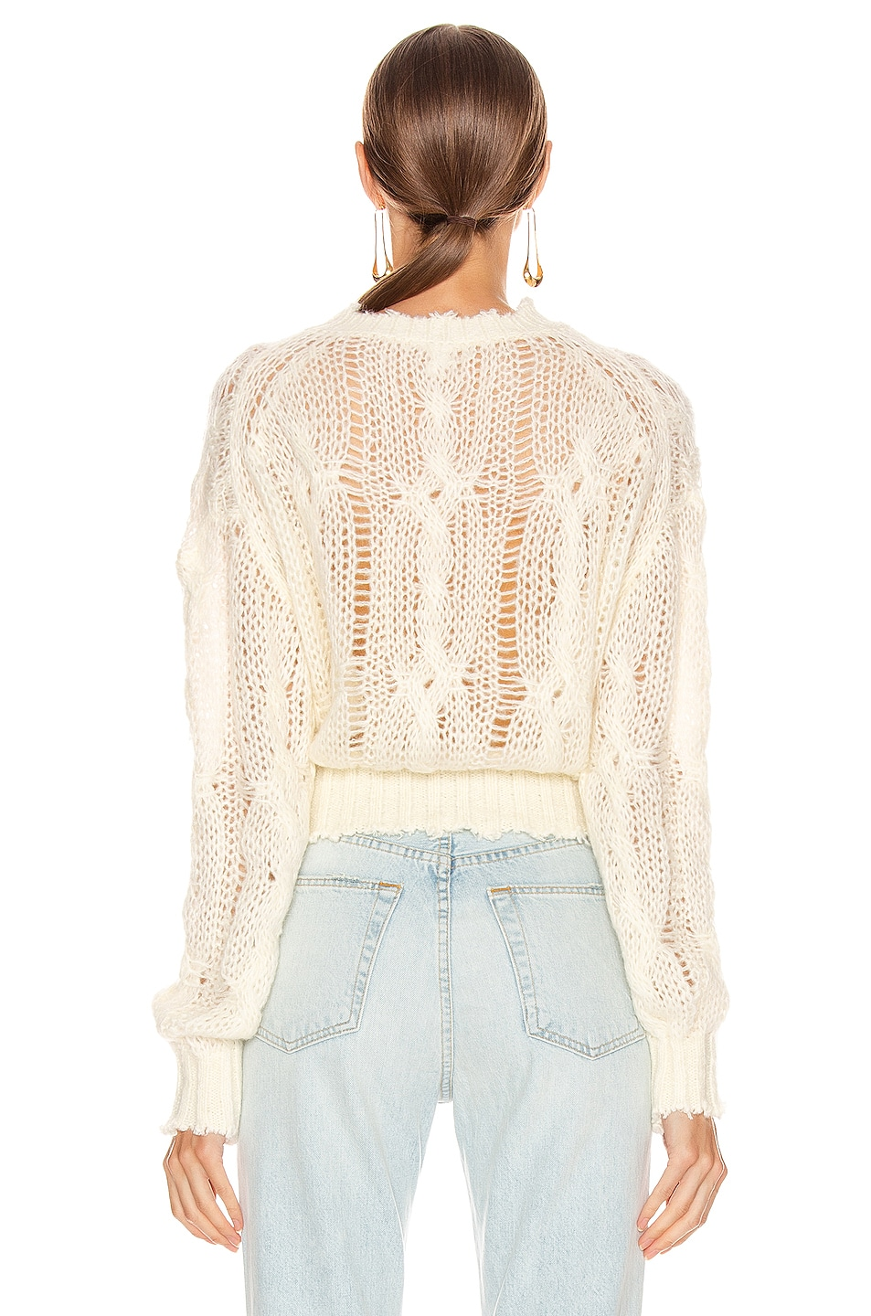 Image 3 of Acne Studios Kella Cable Sweater in Off White