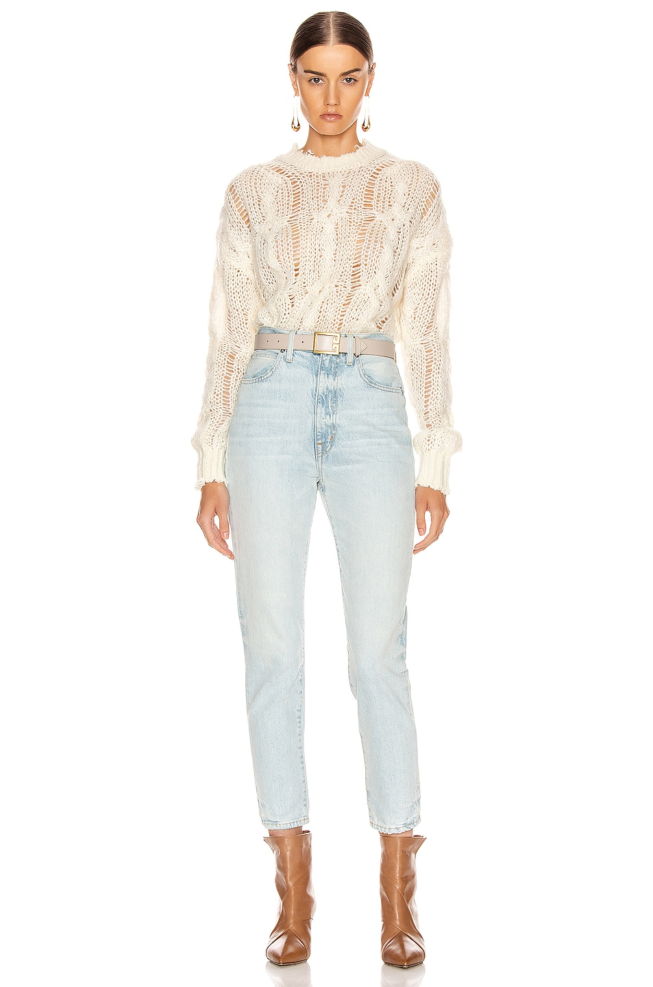 Image 4 of Acne Studios Kella Cable Sweater in Off White