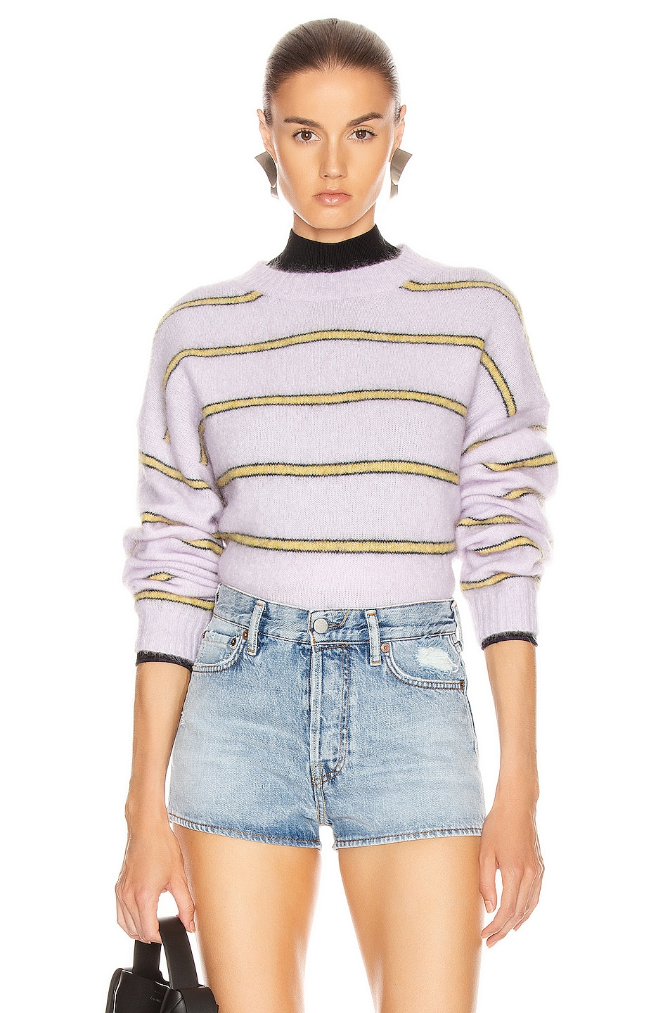 Image 1 of Acne Studios Khira Mohair Sweater in Lilac & Mustard