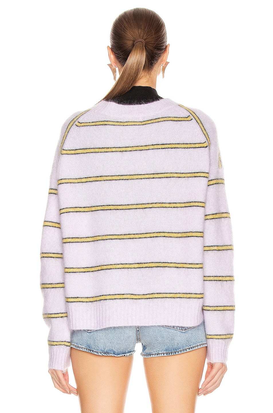 Image 3 of Acne Studios Khira Mohair Sweater in Lilac & Mustard