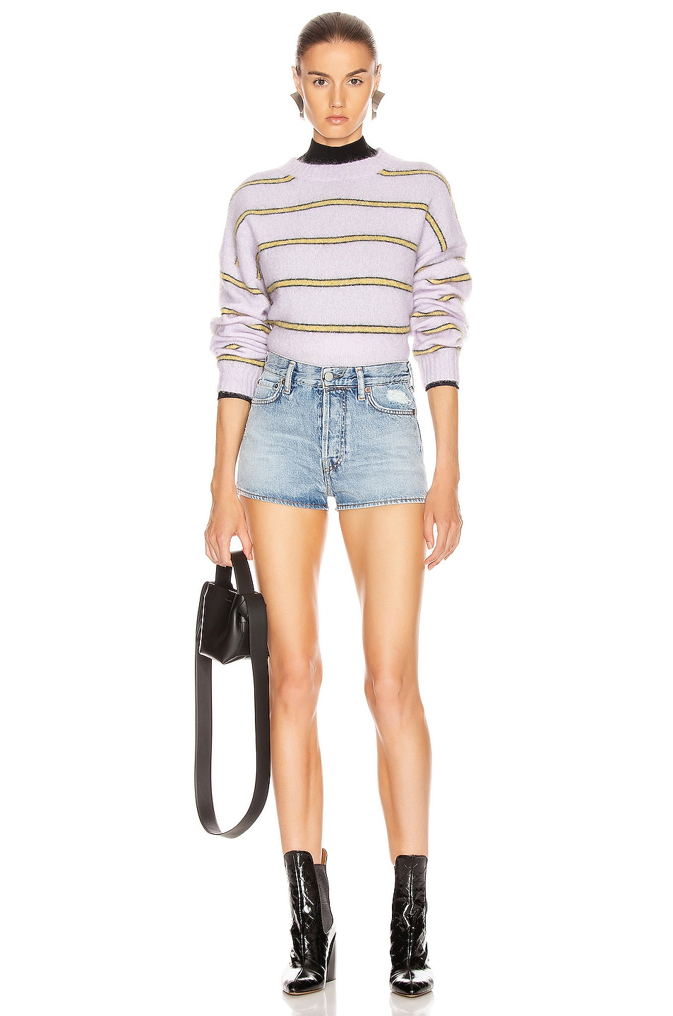 Image 4 of Acne Studios Khira Mohair Sweater in Lilac & Mustard