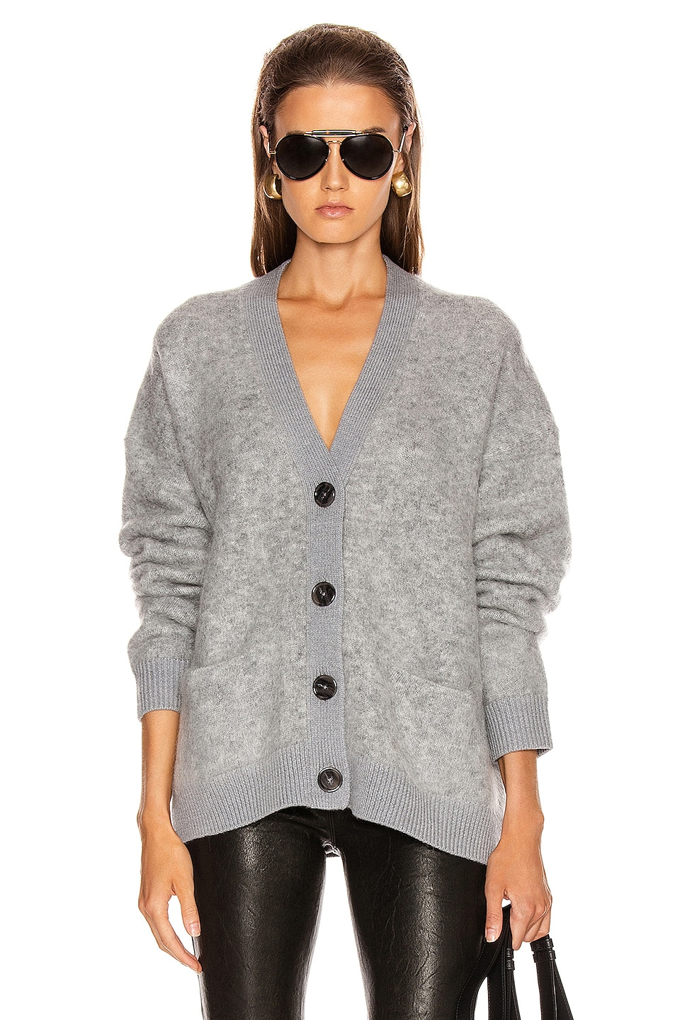 Image 1 of Acne Studios Rives Mohair Cardigan in Cold Grey Melange