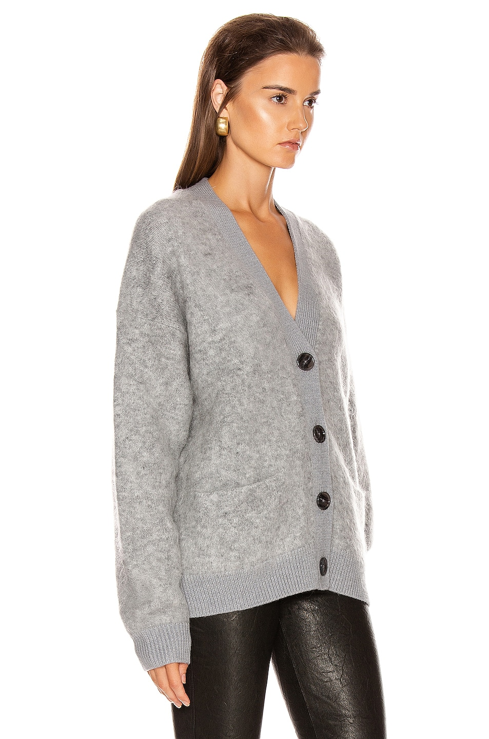 Image 2 of Acne Studios Rives Mohair Cardigan in Cold Grey Melange