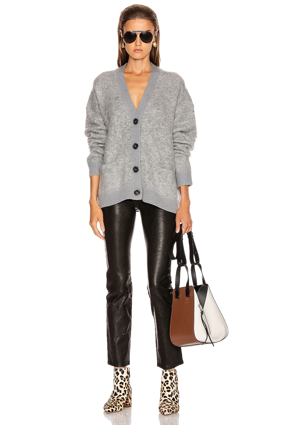 Image 4 of Acne Studios Rives Mohair Cardigan in Cold Grey Melange