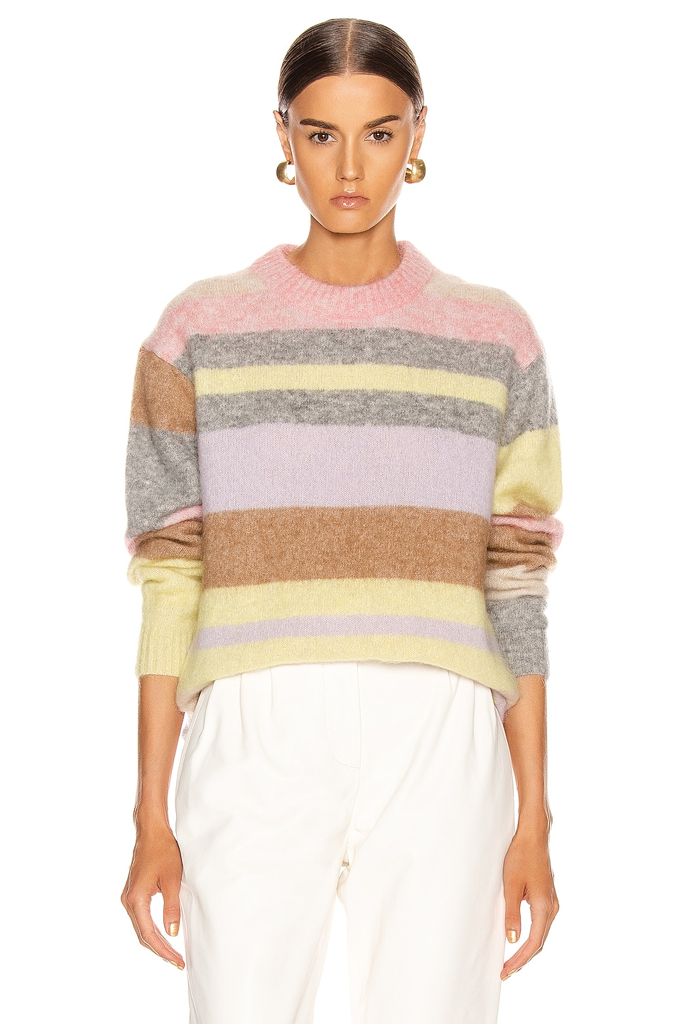 Image 1 of Acne Studios Kalbah Mohair Sweater in Lilac & Yellow Multi