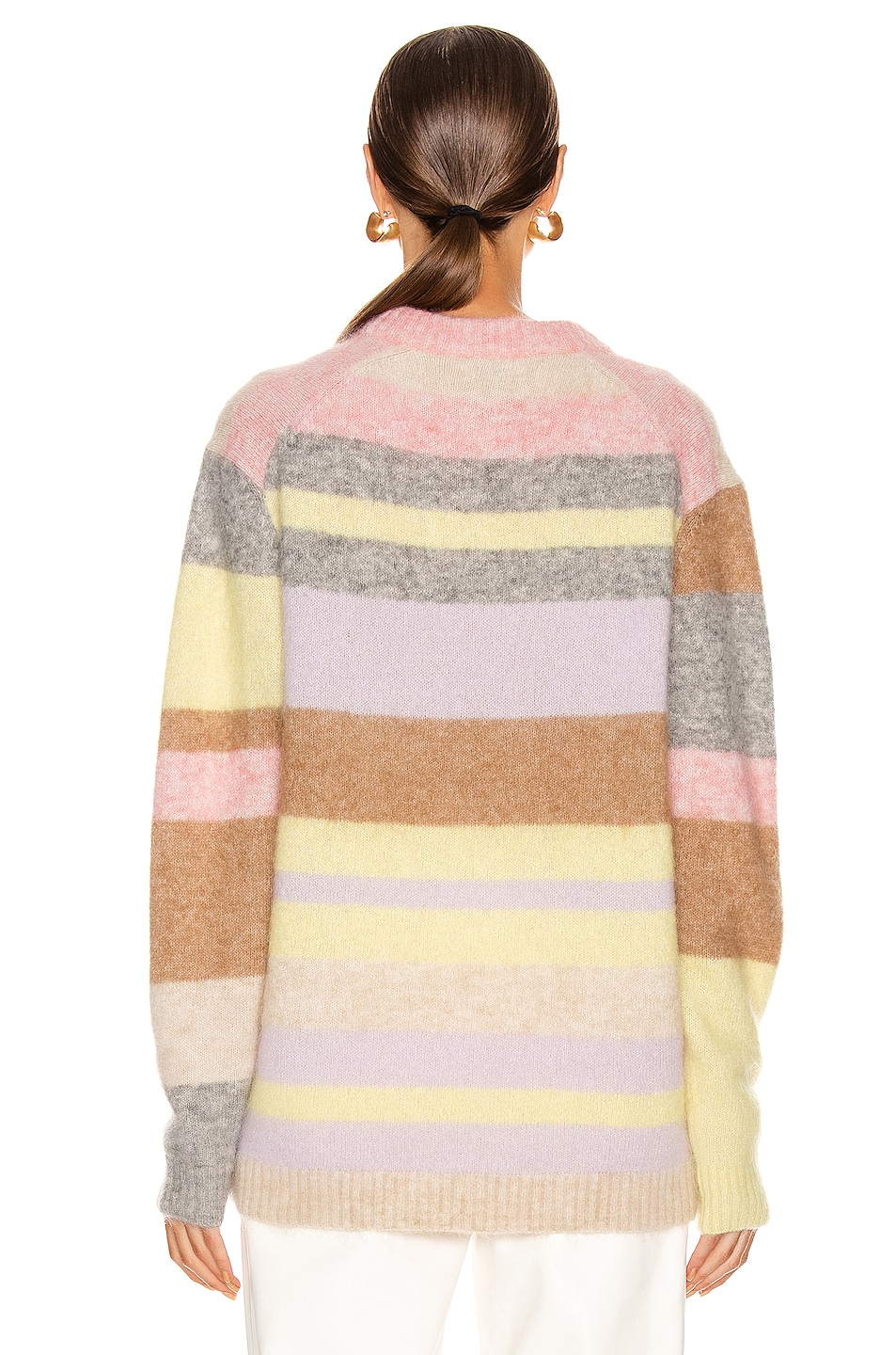 Image 3 of Acne Studios Kalbah Mohair Sweater in Lilac & Yellow Multi