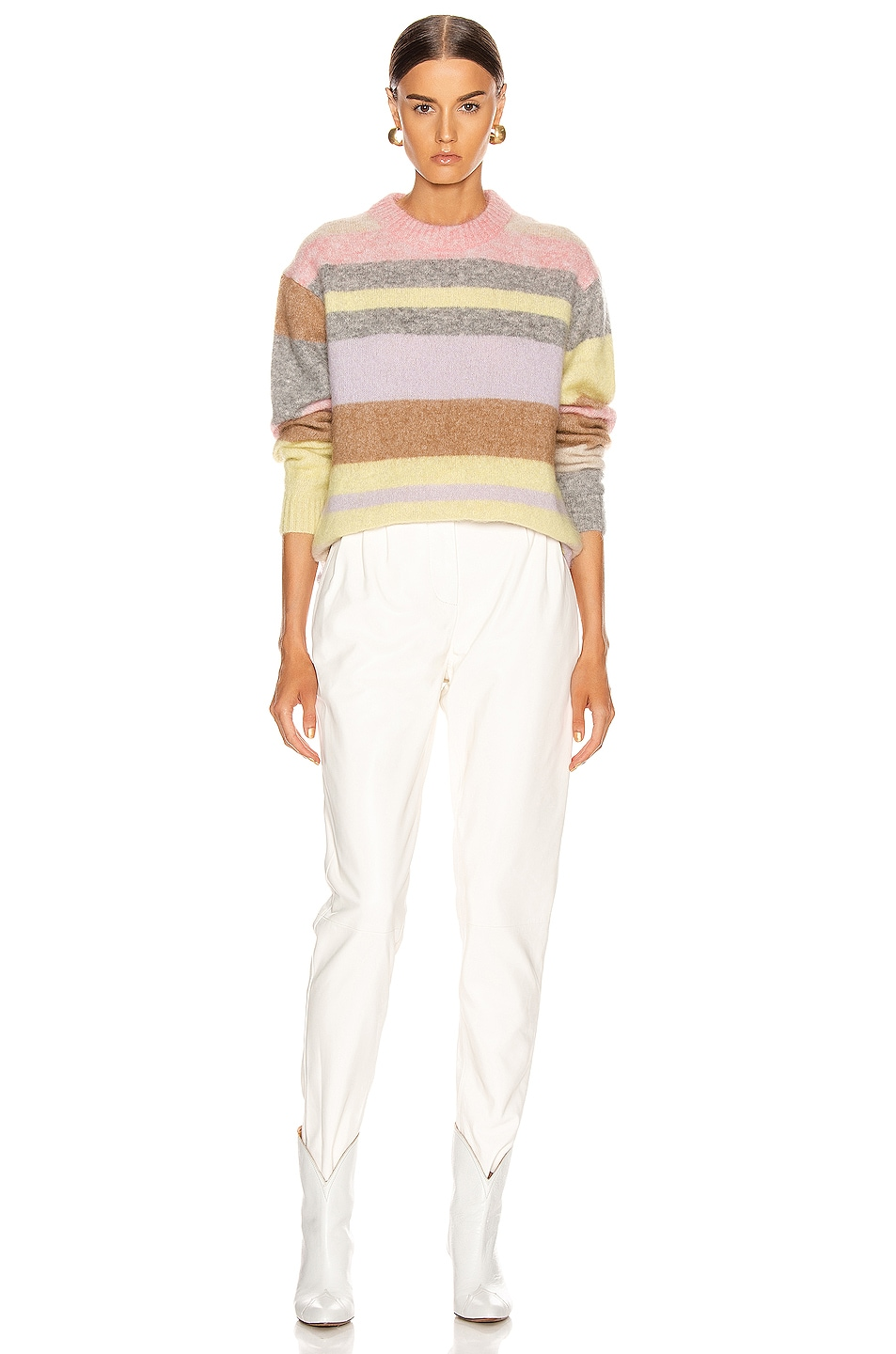Image 4 of Acne Studios Kalbah Mohair Sweater in Lilac & Yellow Multi