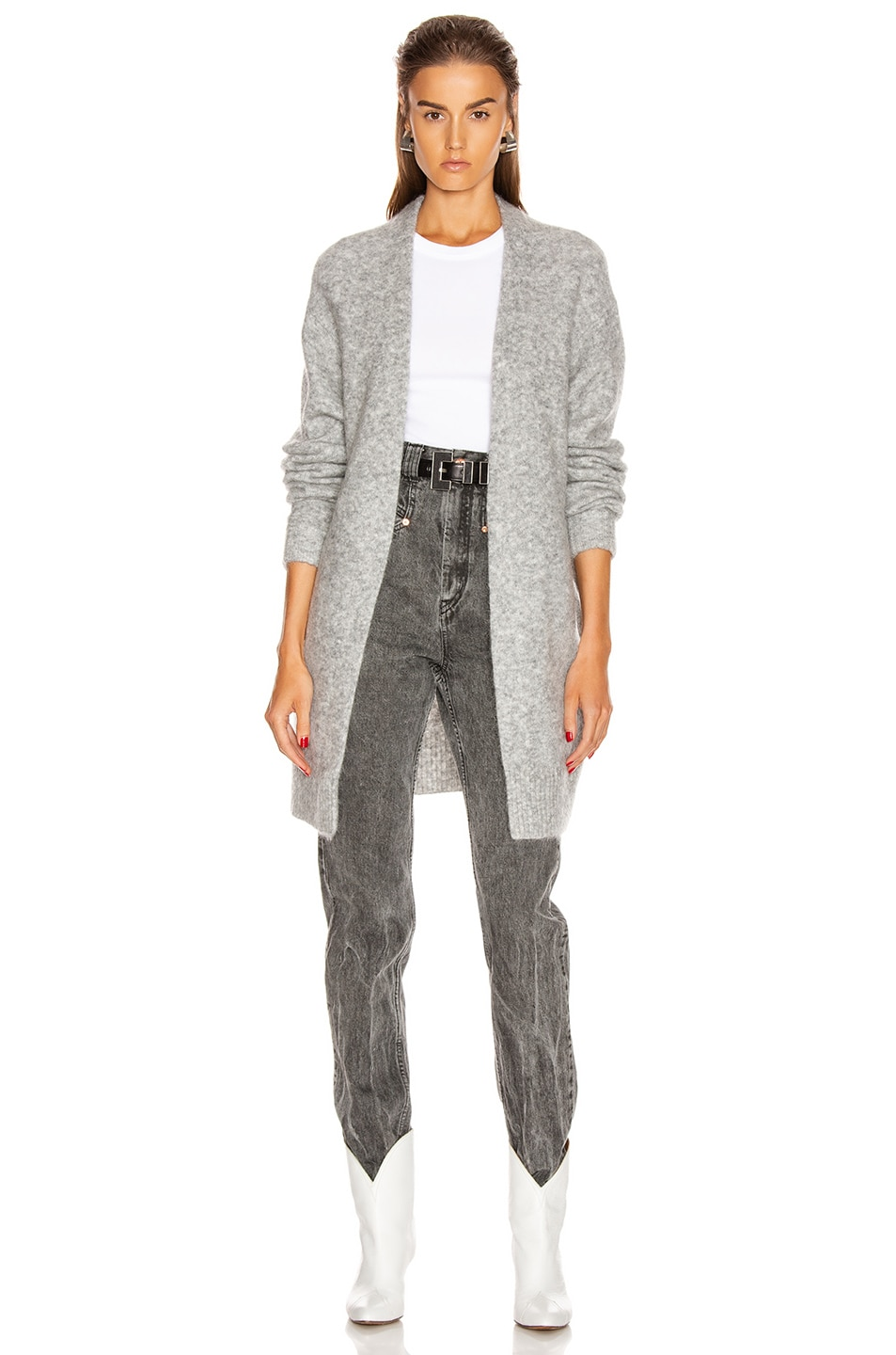 Image 1 of Acne Studios Raya Short Mohair Cardigan in Cold Grey Melange