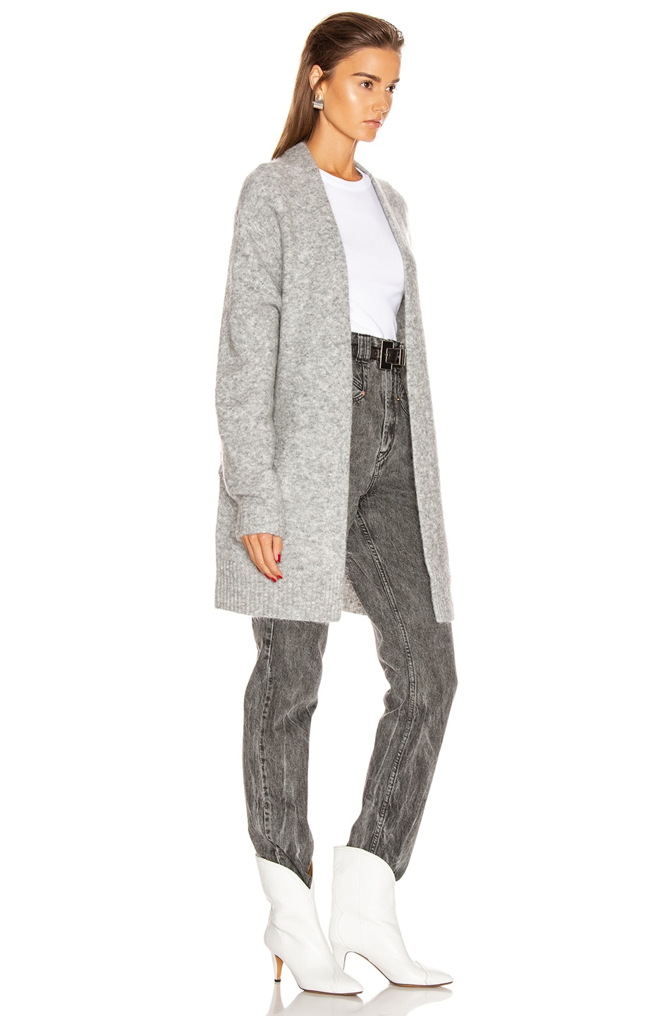 Image 2 of Acne Studios Raya Short Mohair Cardigan in Cold Grey Melange