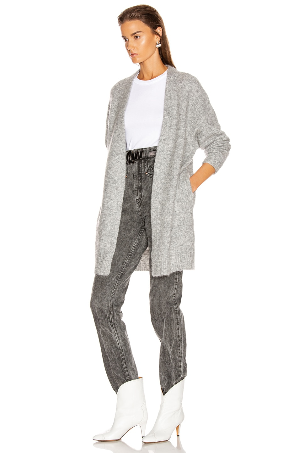 Image 3 of Acne Studios Raya Short Mohair Cardigan in Cold Grey Melange