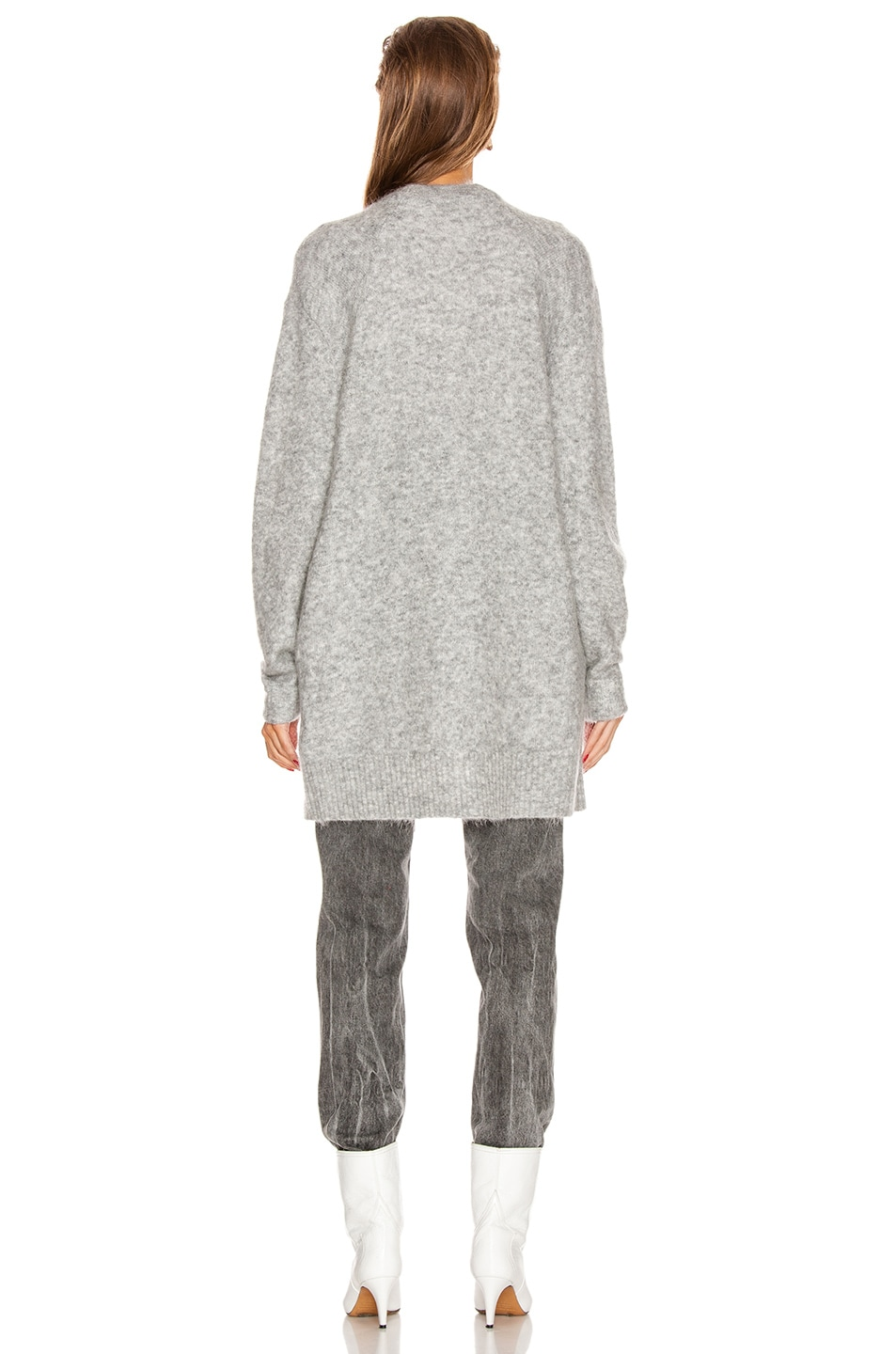 Image 4 of Acne Studios Raya Short Mohair Cardigan in Cold Grey Melange
