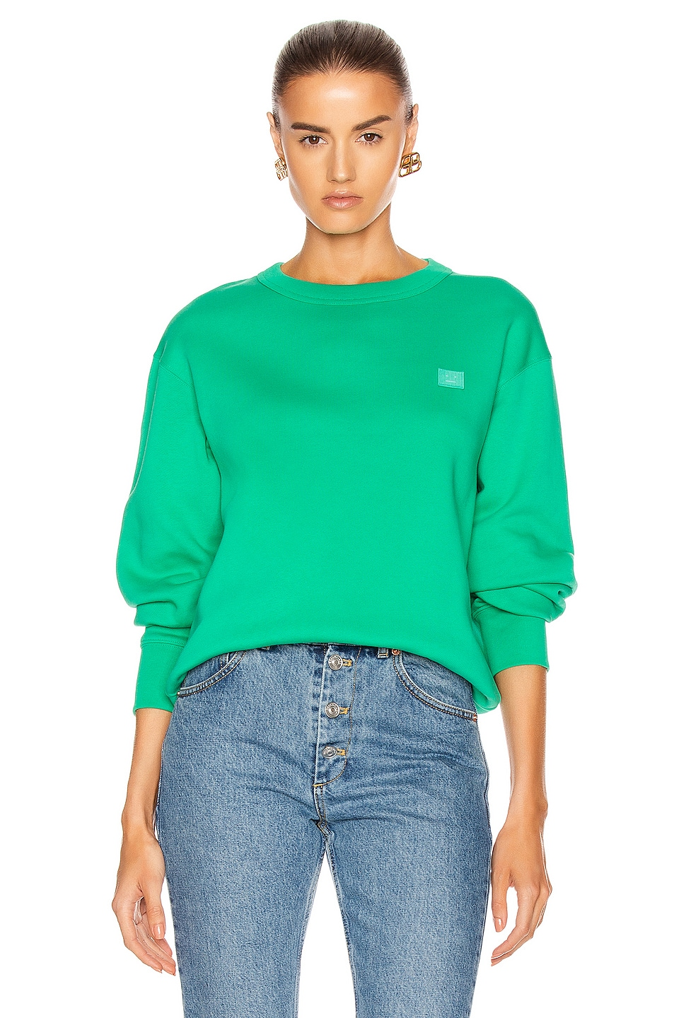 Image 1 of Acne Studios Fairview Face Pullover Sweatshirt in Emerald Green