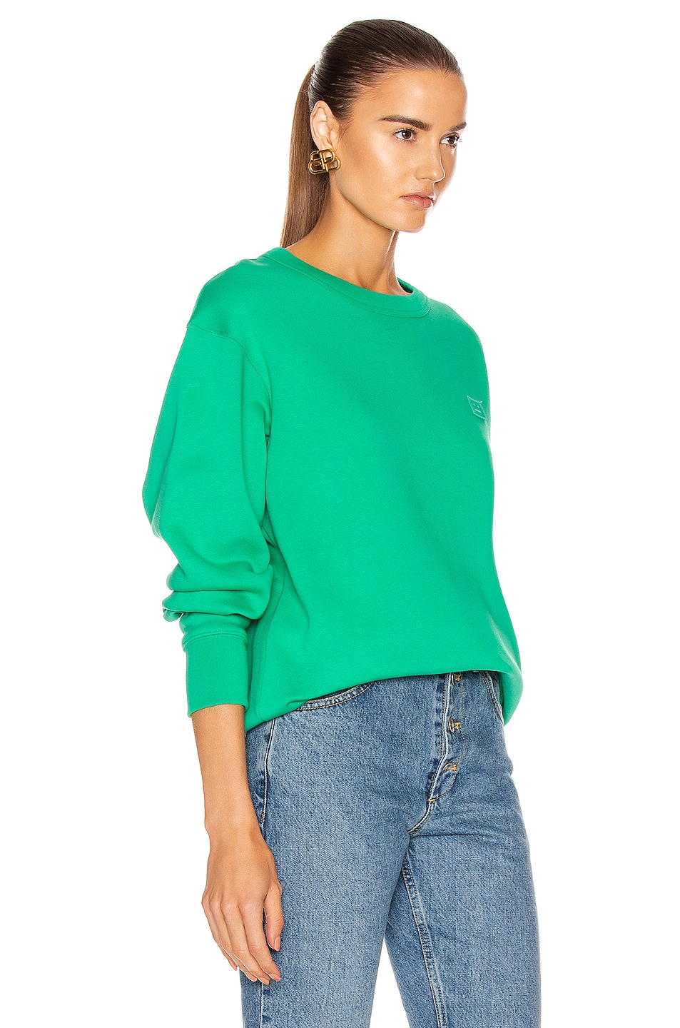 Image 2 of Acne Studios Fairview Face Pullover Sweatshirt in Emerald Green