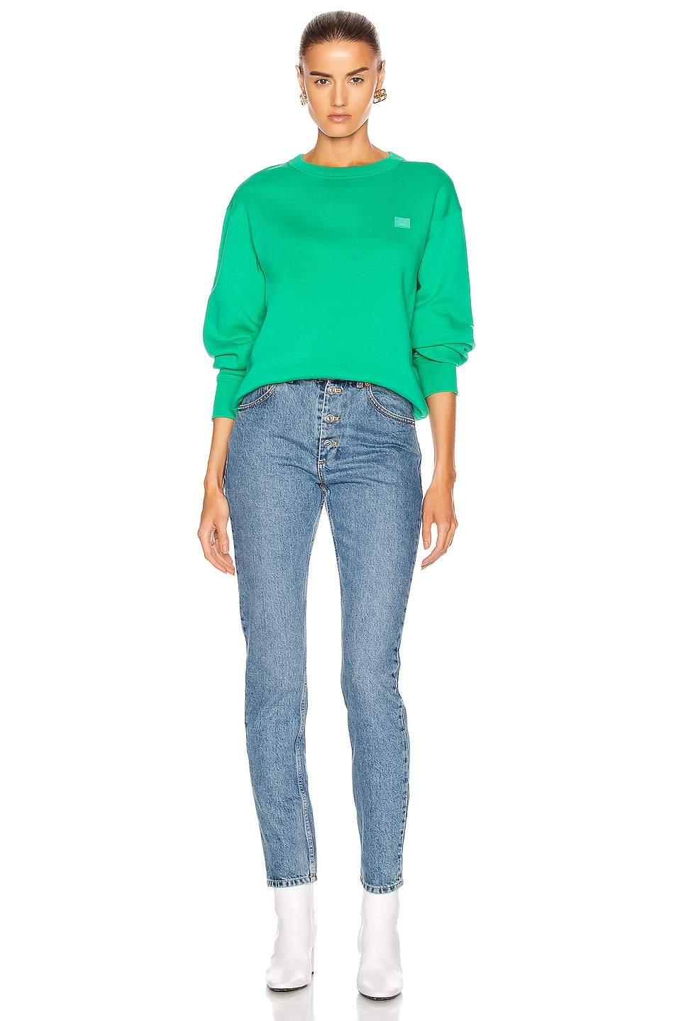 Image 4 of Acne Studios Fairview Face Pullover Sweatshirt in Emerald Green
