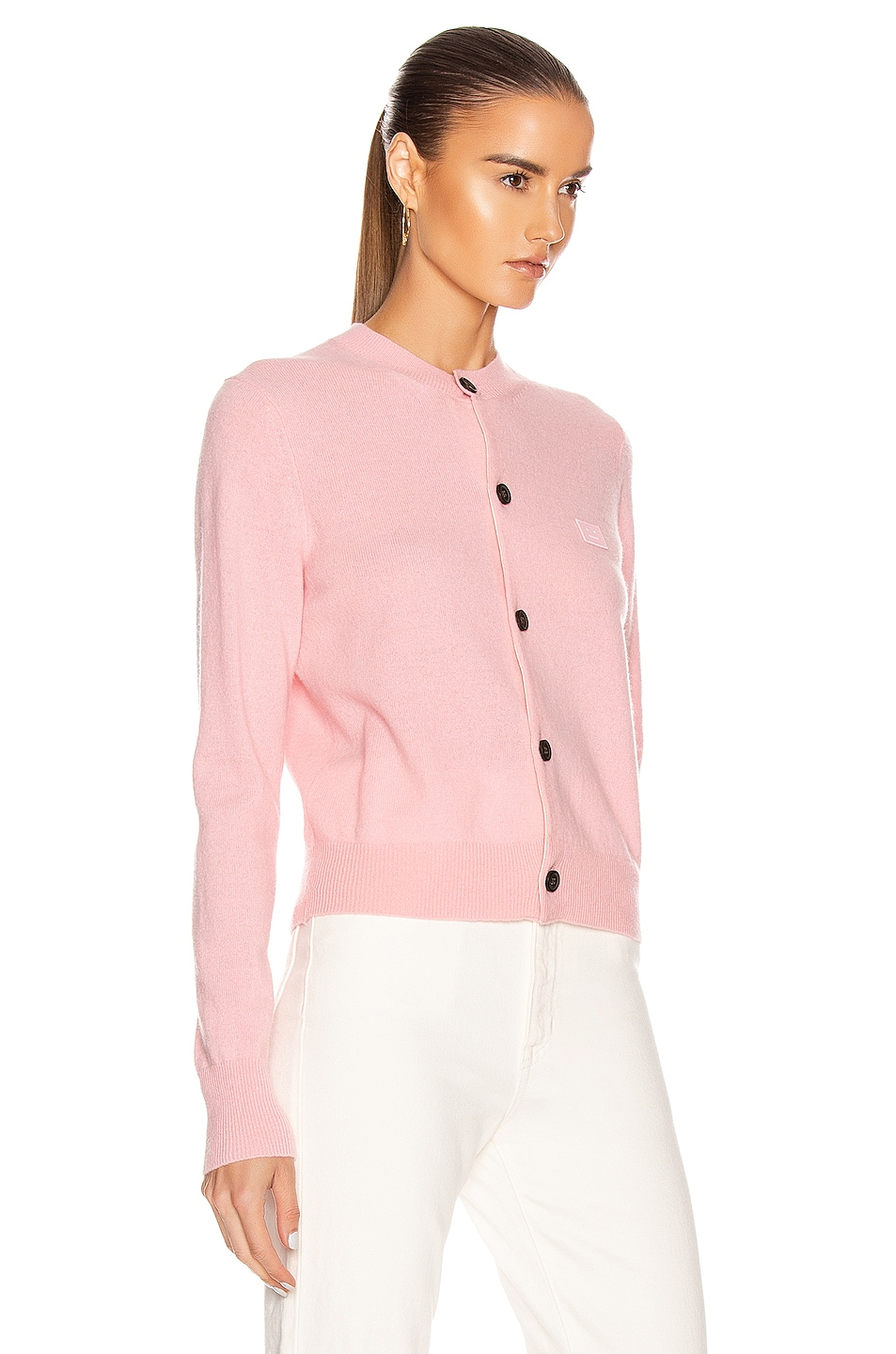 Image 2 of Acne Studios Keva Face Cardigan in Blush Pink
