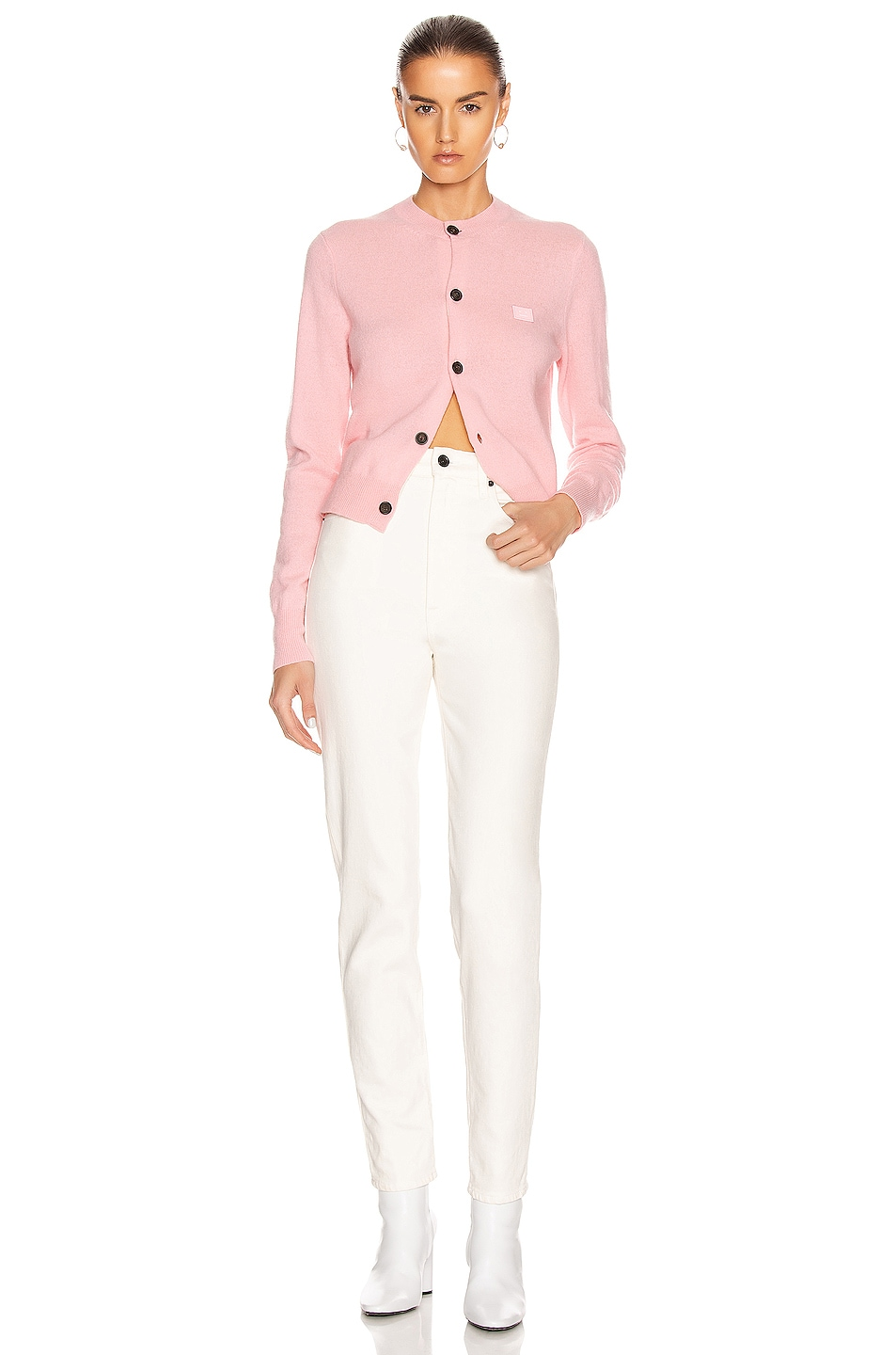 Image 4 of Acne Studios Keva Face Cardigan in Blush Pink