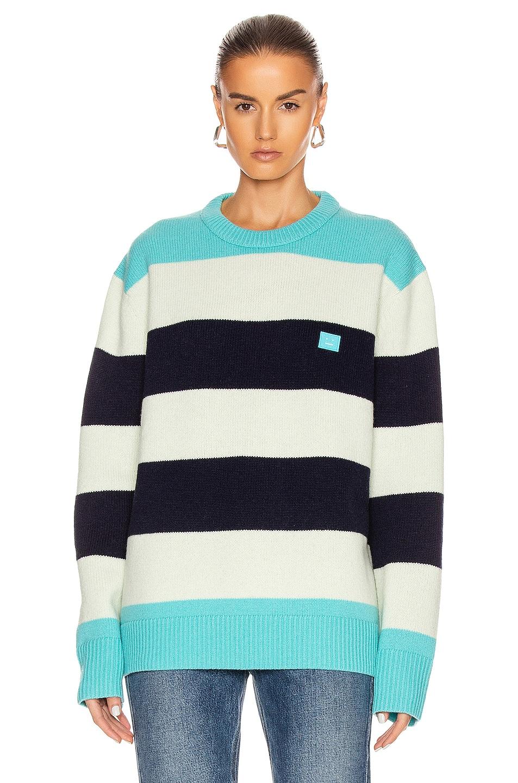 Image 1 of Acne Studios Nimah Block Stripe Sweater in Multi Turquoise