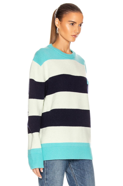 Image 2 of Acne Studios Nimah Block Stripe Sweater in Multi Turquoise