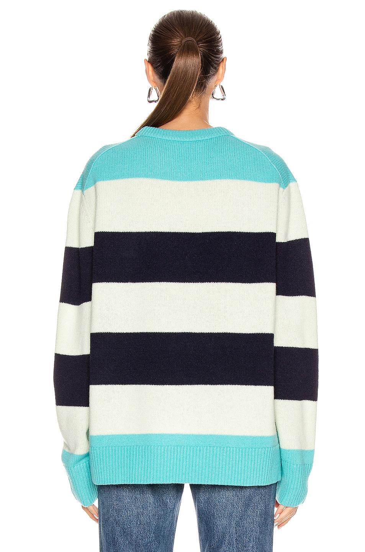 Image 3 of Acne Studios Nimah Block Stripe Sweater in Multi Turquoise