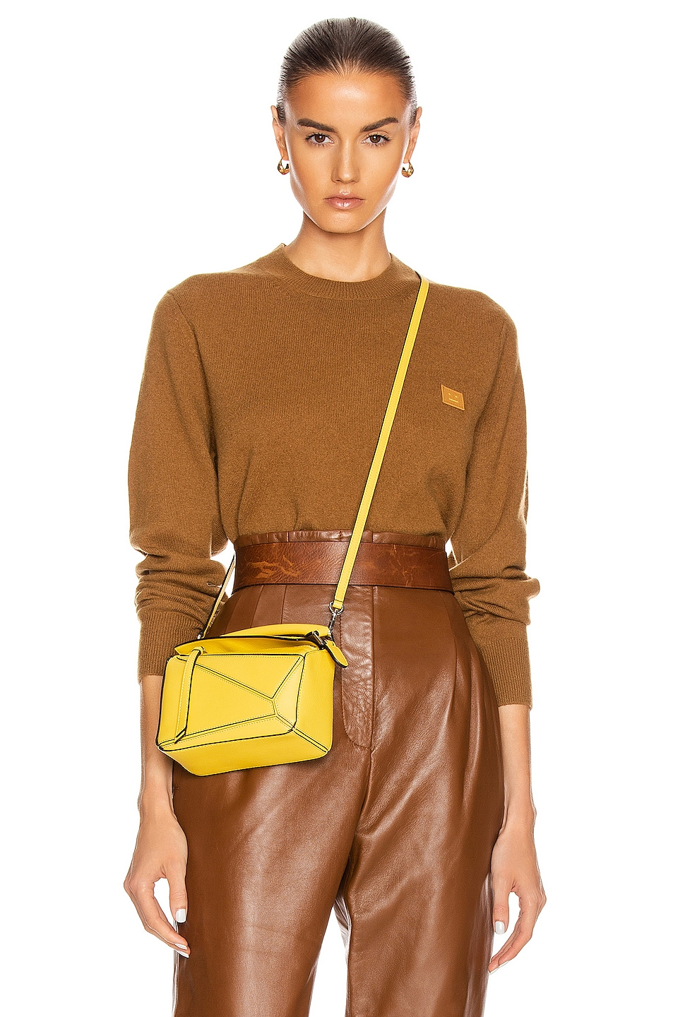 Image 1 of Acne Studios Face Sweater in Caramel Brown