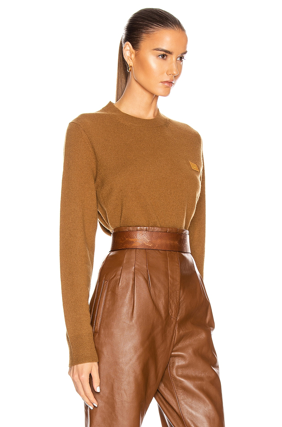 Image 2 of Acne Studios Kalon Face Sweater in Caramel Brown