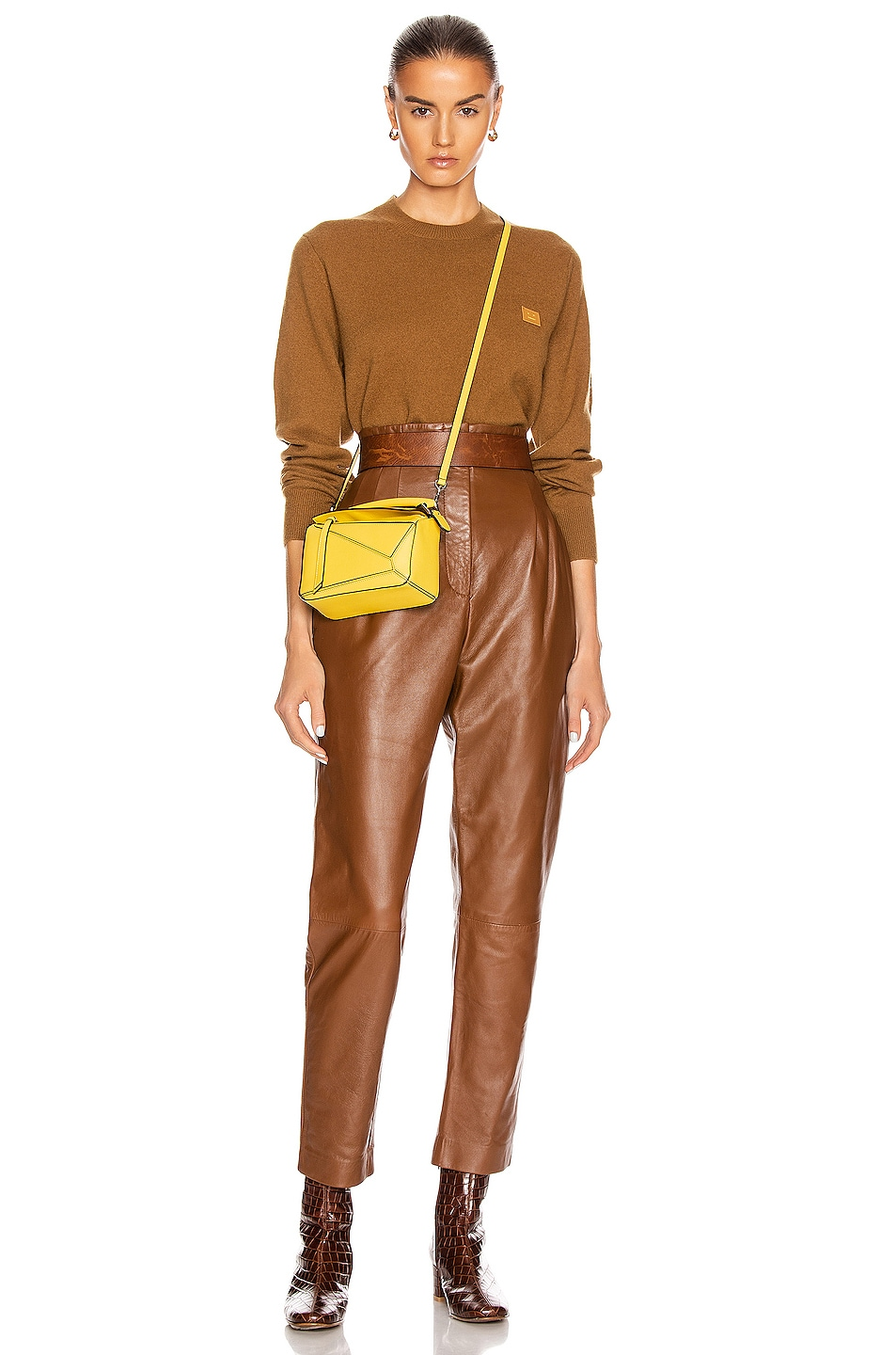 Image 4 of Acne Studios Kalon Face Sweater in Caramel Brown