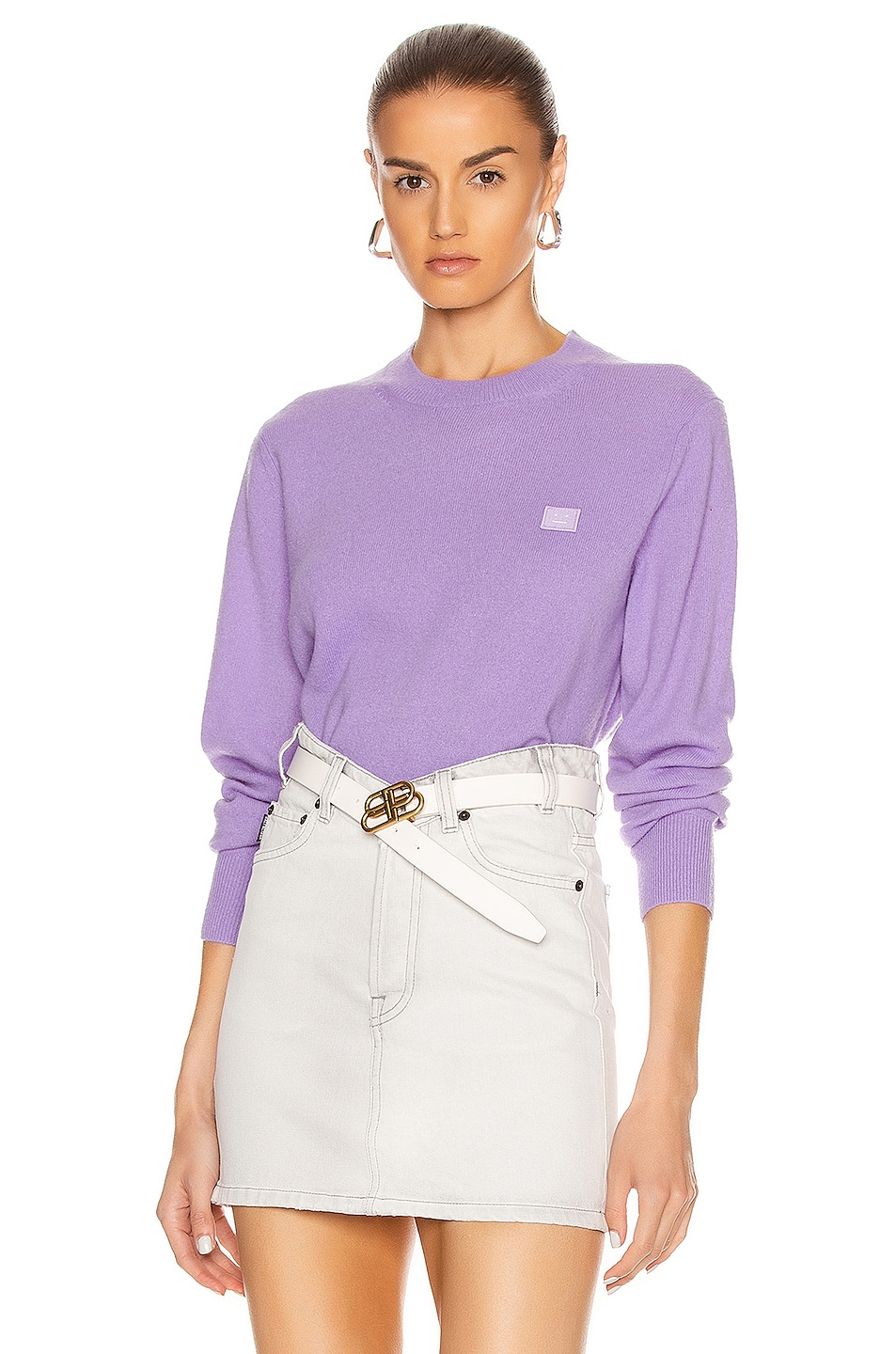 Image 1 of Acne Studios Kalon Face Sweater in Lavender Purple