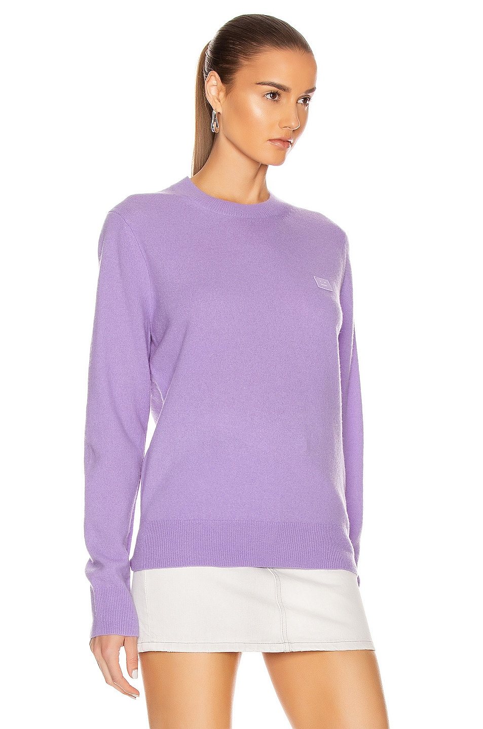 Image 2 of Acne Studios Kalon Face Sweater in Lavender Purple