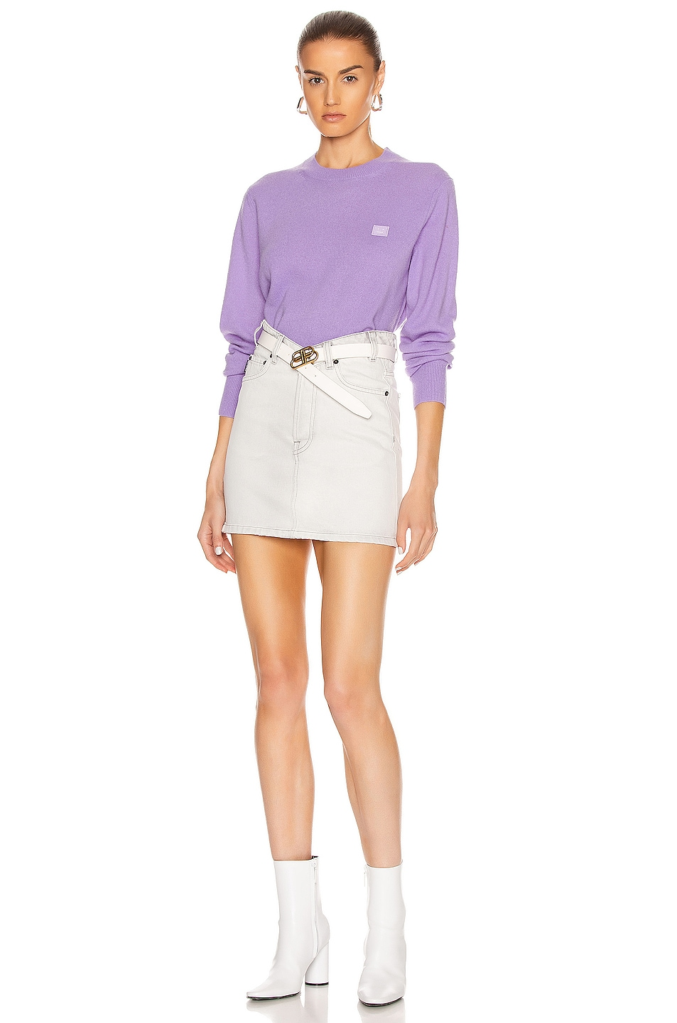 Image 4 of Acne Studios Kalon Face Sweater in Lavender Purple