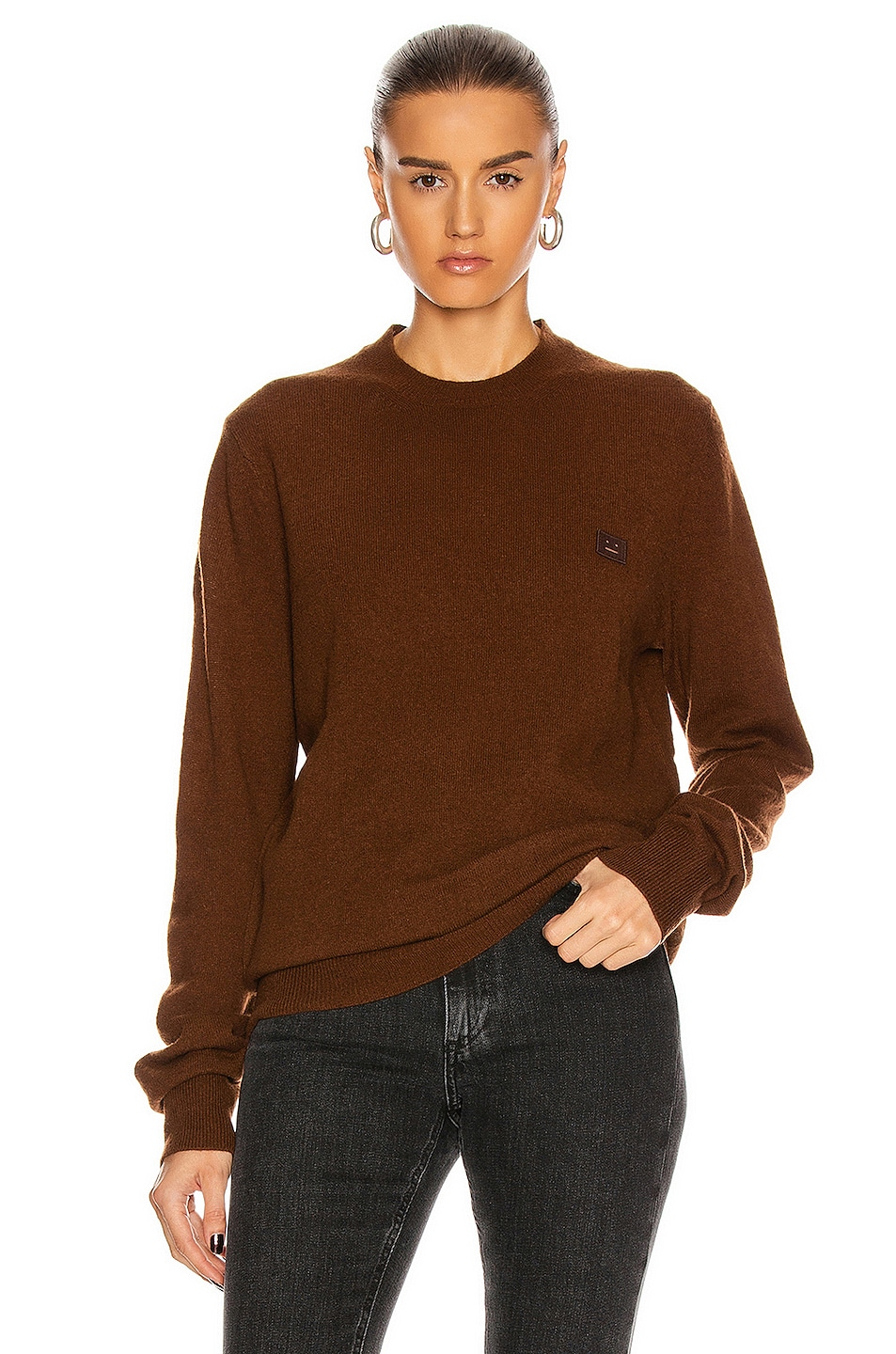 Image 1 of Acne Studios Kalon Face Sweater in Dark Brown