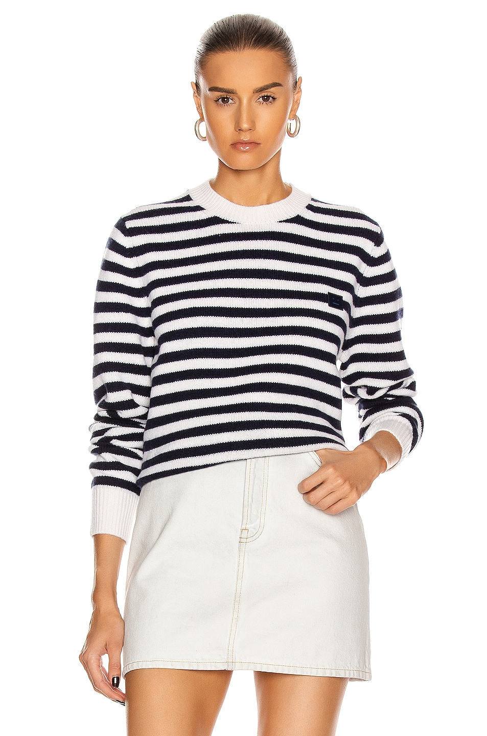 Image 1 of Acne Studios Kalon Stripe Face Sweater in Navy & White