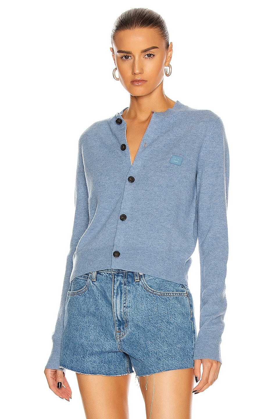 Image 1 of Acne Studios Keva Face Cardigan in Mineral Blue