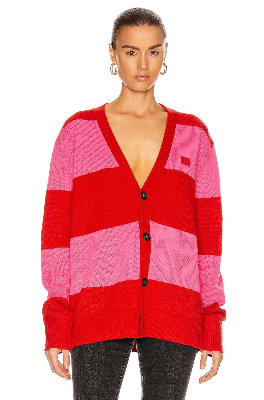 Image 1 of Acne Studios Kimano Block Stripe Cardigan in Red & Bubblegum Pink