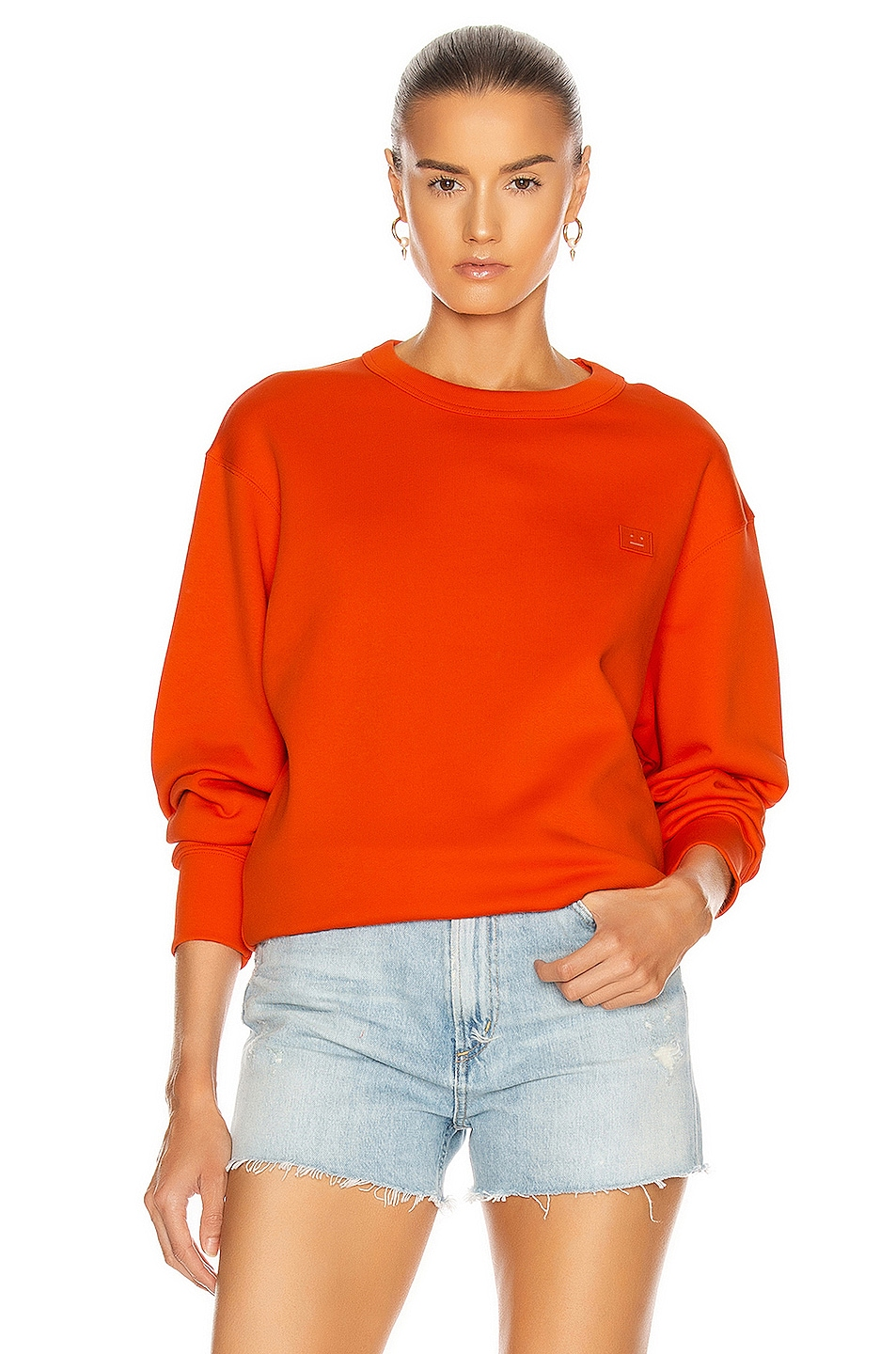 Image 1 of Acne Studios Fairview Face Sweatshirt in Dark Orange
