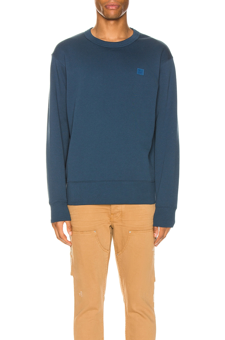 Image 1 of Acne Studios Fairview Face Sweatshirt in Midnight Blue