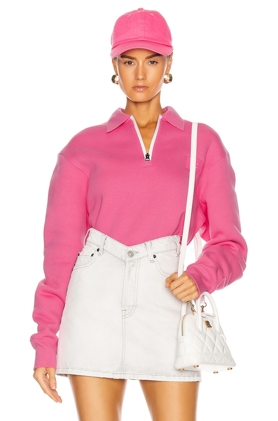 Image 1 of Acne Studios Ferd Face Half Zip Sweatshirt in Bubblegum Pink