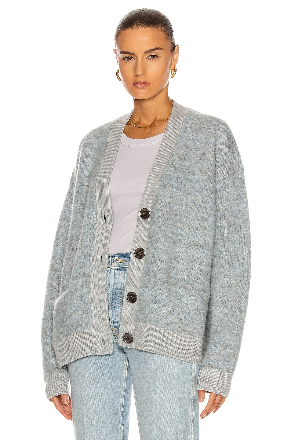 Image 1 of Acne Studios Rives Mohair Cardigan in Light Grey & Blue